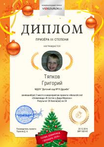 3 степени Тяпков Григорий